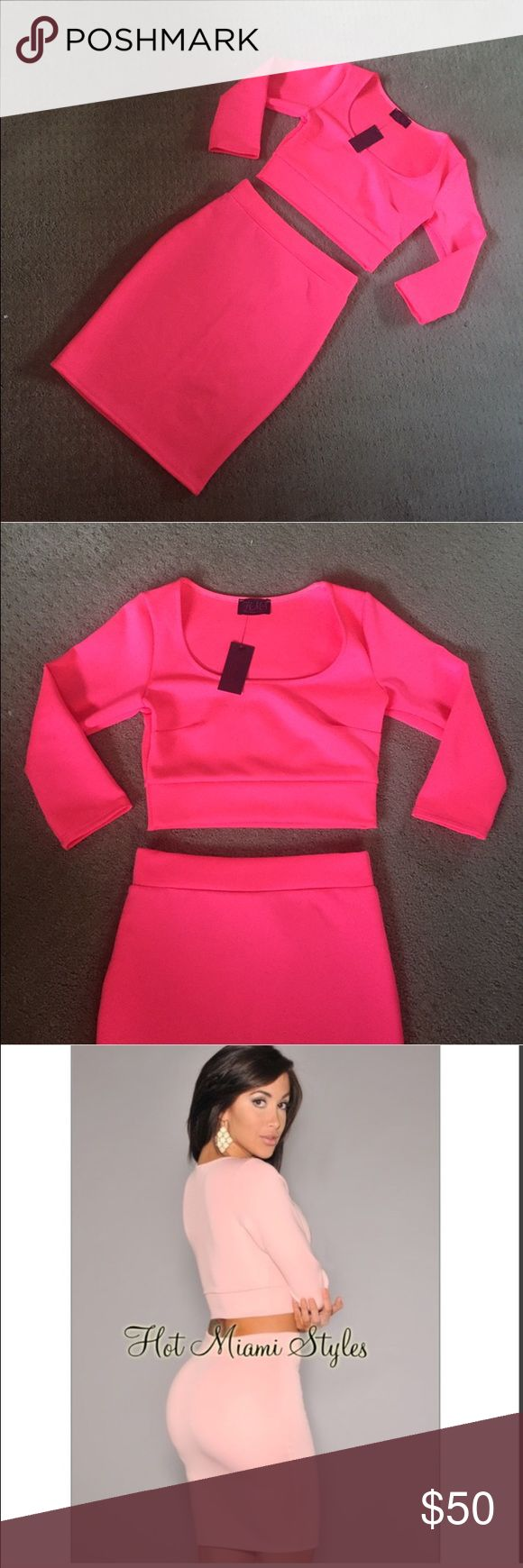 New Neon Hot Pink Crop Top Skirt Set Small New. Bright neon hot pink color. Crop top and skirt. Has stretch. Size small. This can be worn as a Midi if you're shorter. And more above the knee for taller girls. Just depends on how high you'd like to wear it. Looks good high waist or low/normal. No trades. ***NOT BEBE*** used fof exposure bebe Skirts Skirt Sets