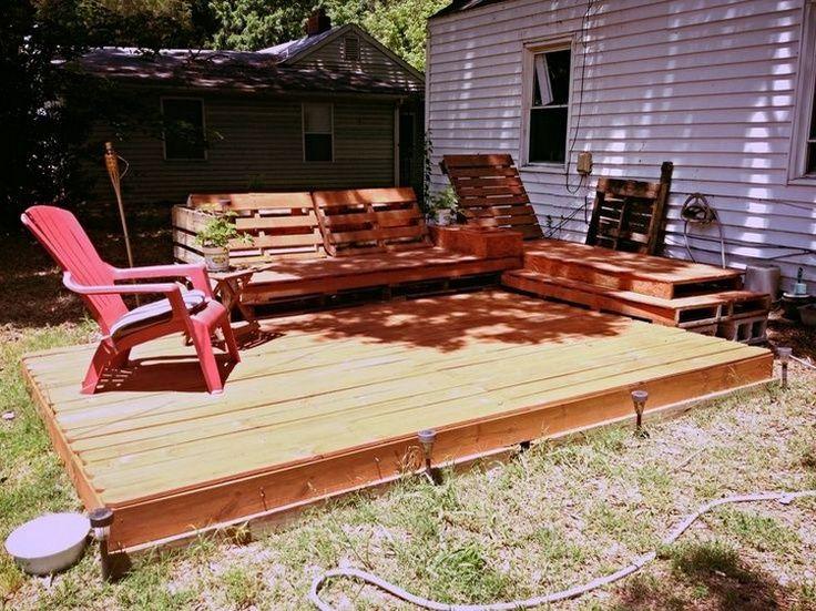 DIY Pallet Patio Decks With Furniture