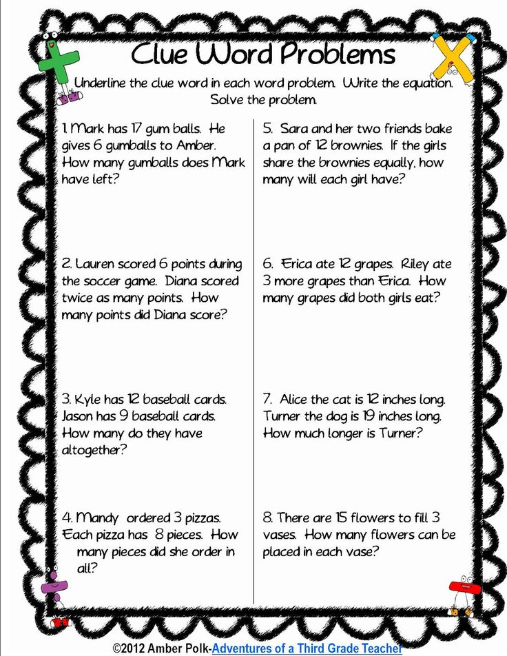 3rd grade math story problems Learn to teach addition and subtraction word problems by problem type  below  are five math problem-solving strategies to use when teaching word  but once  they hit third grade and are doing both multiplication and addition within the.