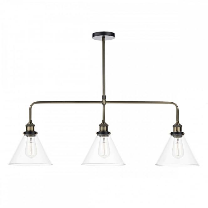 The lighting book ray vintage antique brass ceiling bar pendant with clear tapered glass shades