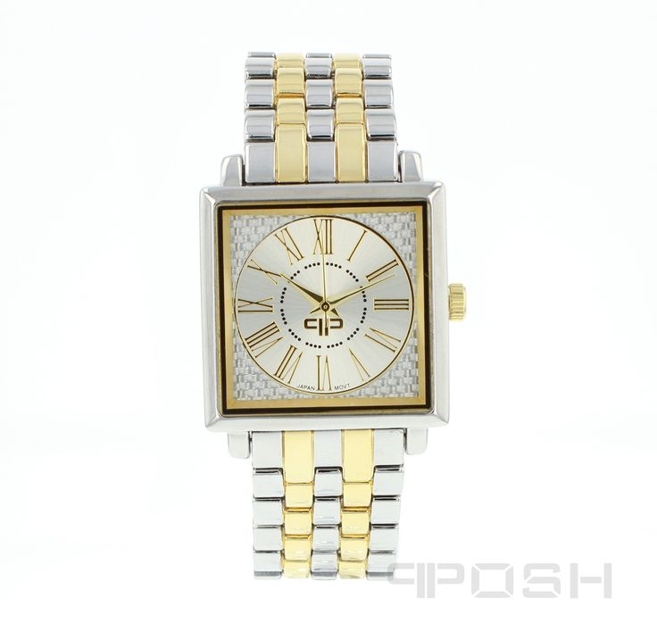 George - Watch - Silver and Gold Tone.  - Classic square face design - Plated in gorgeous 2-tone - Face features exclusive POSH design - Bracelet and full casing made in stainless steel - Water resistant up to 5 ATM - Extra links available - Japanese movement  Dimensions Face: 35mm diameter   POSH by FERI - Passion for Fashion - Luxury fashion jewelry for the designer in you.  #Jewellery   #watches