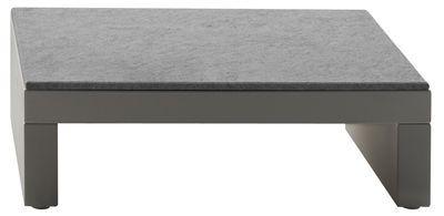 Table basse Bellini Hour Structure ivoire / Plateau granite teinté bleu - Serralunga