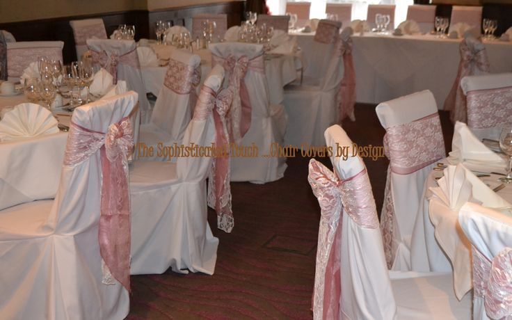 Double Dusky Pink Satin and Lace Bows on White Chair Covers  The Sophisticated Touch ...Chair Covers by Design