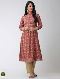 Buy Pink Blue Green Block printed Cotton Kurta with Gota trim by Jaypore Women Kurtas Online at Jaypore.com