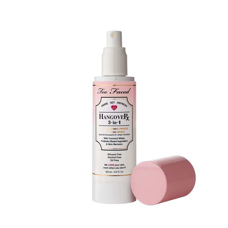 Too Faced keeps makeup refreshed and primed with the Hangover 3 In 1 primer and setting spray. Infused with coconut water, this mist keeps skin hydrated.