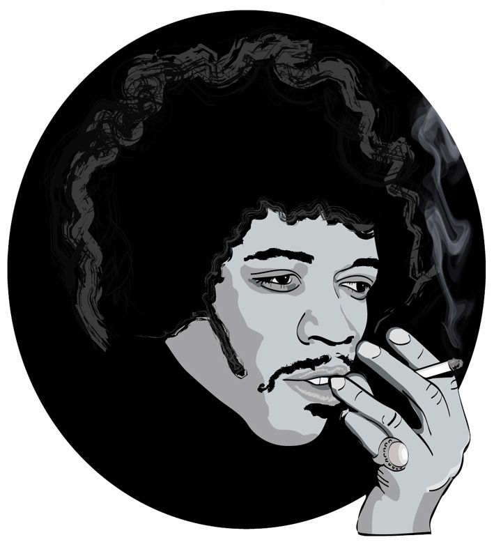 Vector illustration of the legend that is Jimi Hendrix.
