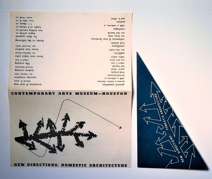 "Frank Lloyd Wright, Philip Johnson, Charles and Ray Eames, Richard Neutra, ""New Directions: Domestic Architecture"" Group Show, Mailer/ Party Invitation, Contemporary Arts Museum Houston, 1952, VINCE fine arts/ephemera"