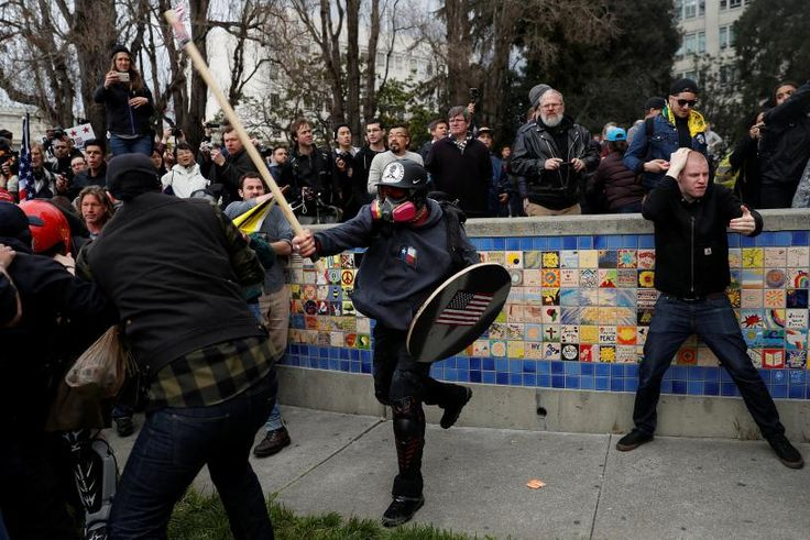 Supporters of Donald Trump clashed with counter-protesters at a rally in the famously left-leaning city of Berkeley, California, on a day of mostly peaceful gatherings in support of the U.S. president across the country.