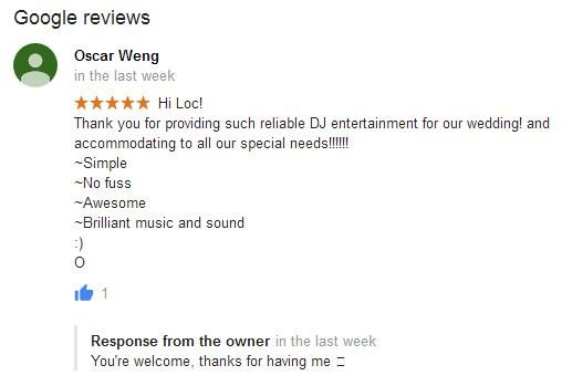 """Thanks to Oscar for posting this super awesome review!  """"Hi Loc! Thank you for providing such reliable DJ entertainment for our wedding! and accommodating to all our special needs!!!!!!  ~Simple ~No fuss ~Awesome ~Brilliant music and sound :) O"""" - Oscar, Groom, Wedding Reception. Source: Adelaide DJ Hire Google Business Page... https://maps.google.com/?cid=3063359800192520027"""
