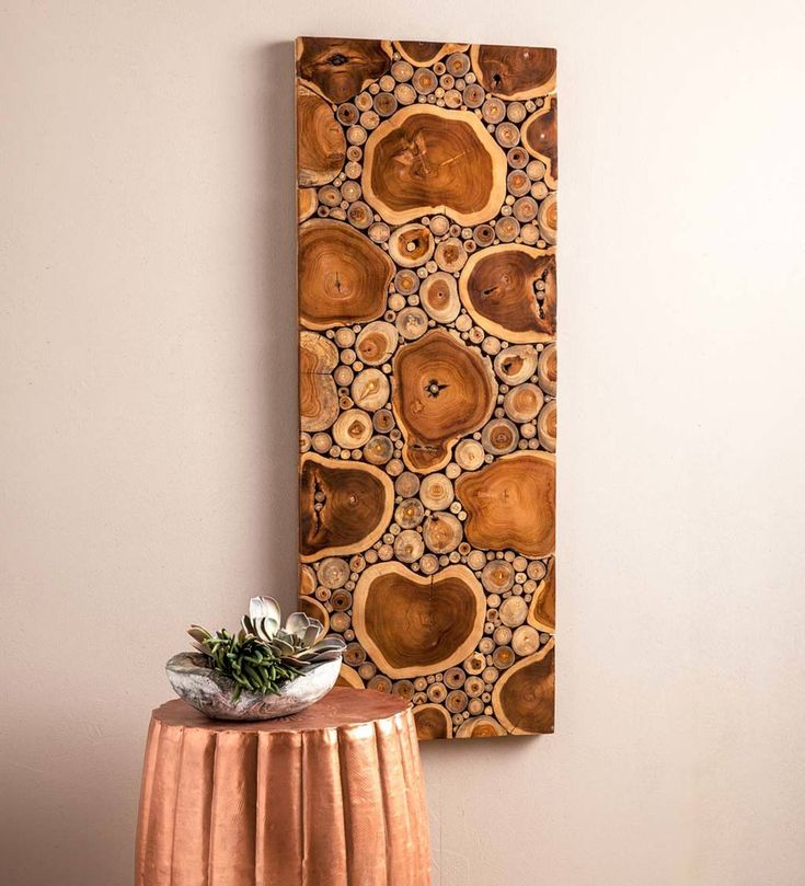 This all-natural slicedteak wood wall panel crates depth and dimension as well…