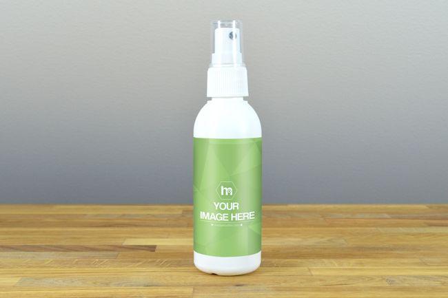 White Spray Bottle Label Mockup - Mediamodifier - Online mockup generator