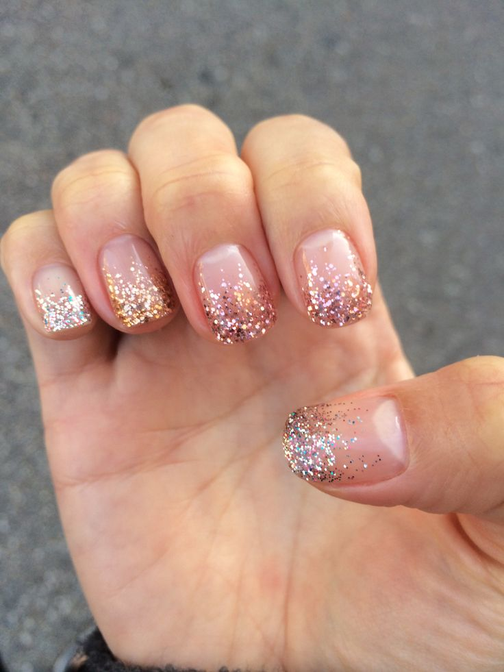 Glitter mix gel nail polish - gold, silver, and pink