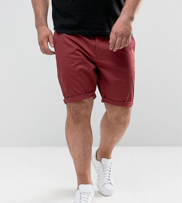 ASOS PLUS Skinny Chino Shorts In Burgundy - Red