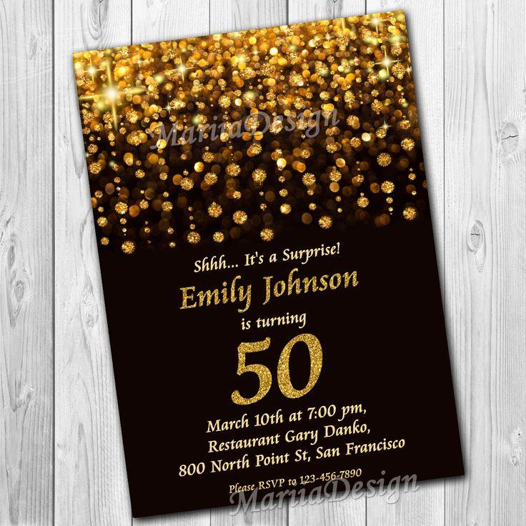 50th birthday invitation,60th birthday invitation,70th birthday invitation,Woman invitation, man invitation,fiftieth invitation,Sixtieth anniversary invitation, fiftieth anniversary invitation,Gold Glitter Invitation,Luxurious Invitation