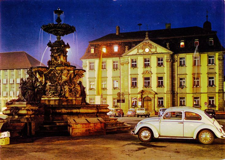 "Germany - Bavaria - Erlangen - 1973 - front | Night on Earth #25 Sreamin' the Light #37 1973 card from Germany / Deutschland, Bavaria / Bayern, Erlangen featuring VW beetle / Käfer (x4 min), OPEL Record P2 Caravan, FIAT 600, MERCEDES-BENZ W120 ""Ponton"" and others"