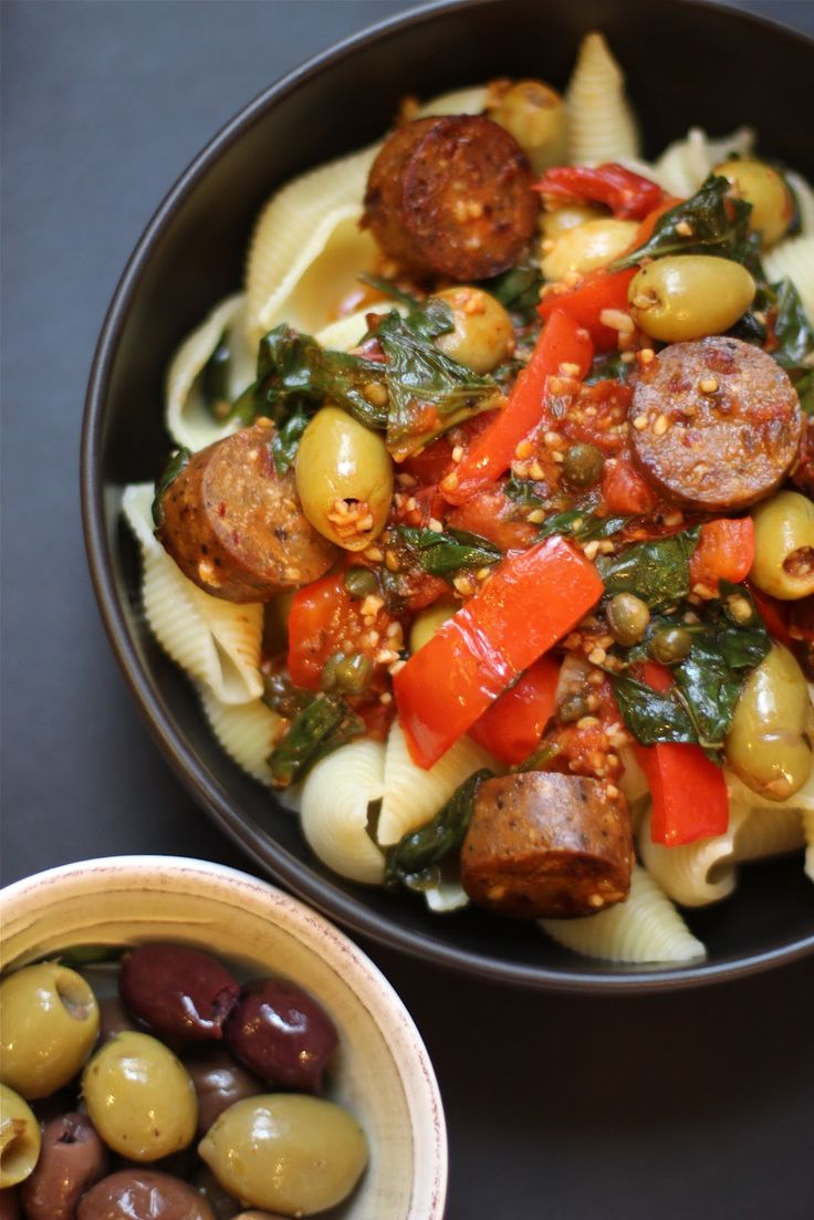 Meet The Shannons: Pasta alla Puttanesca with Vegan Sausage - not your everyday red sauce