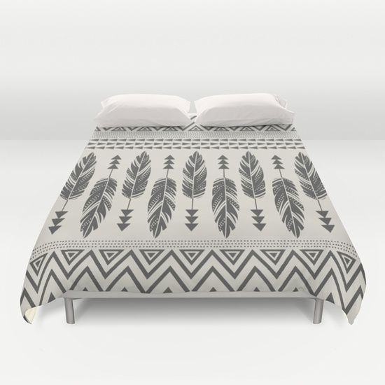 Tribal Feathers-Black & Cream Duvet Cover by Bohemian Gypsy Jane - $99.00