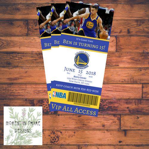 "4""x9' Customized Golden State Warrior's ticket Steph Curry Birthday Invitation Printable Digital"