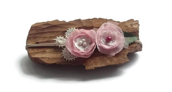 Newborn headband, nylon headband girl headband , photo prop Vintage style headband ,  toddler pink flower headband , nylon flower headband