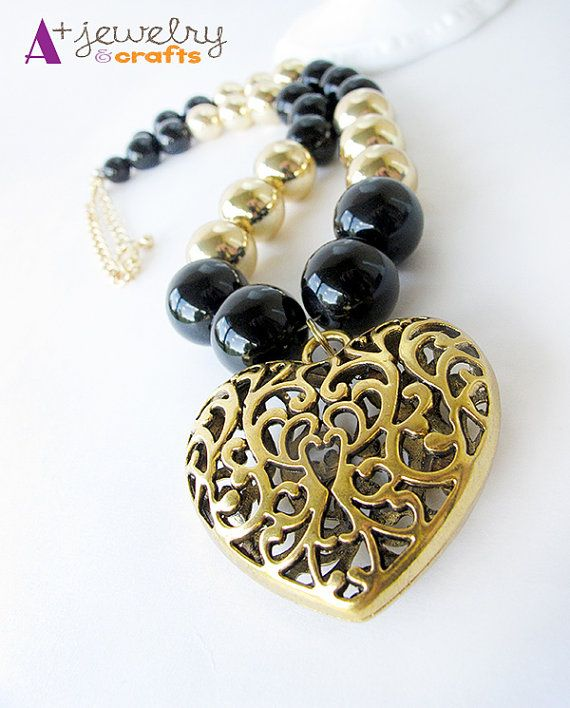 Gold color golden heart celtic heart metal by APlusJewelryCrafts