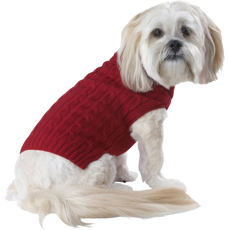 Petco Pup Crew Red Cable Knit Dog Sweater