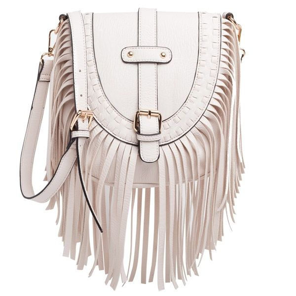 White small shoulder bag with fringes featuring three internal pockets.