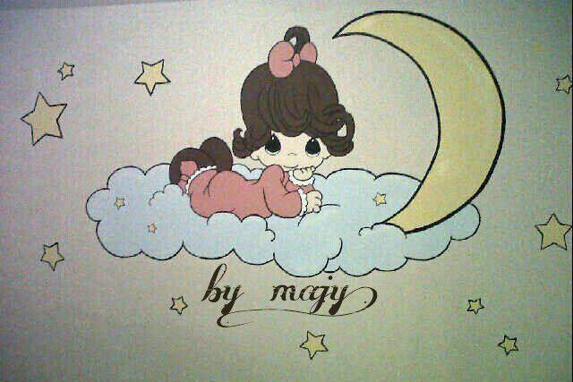 Pintura de Precious Moments en cuarto de bebé