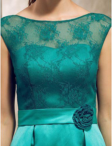 A-line Bateau Knee-length Lace And Satin Bridesmaid Dress - USD $ 79.19