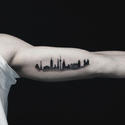 "hell-patrol: "" skyline for fabian #skyline #cities #travel #architecture #tattoo…"