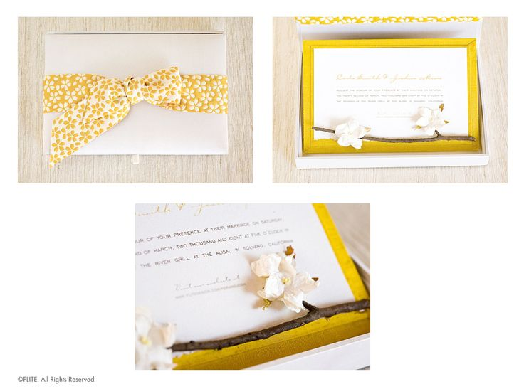 From a real twig, blossoms paper flowers against a bright yellow silk covered card. The invitation is printed on textured watercolor paper. The card sits inside a gorgeous silk box wrapped with a double-faced ribbon imported from Japan!