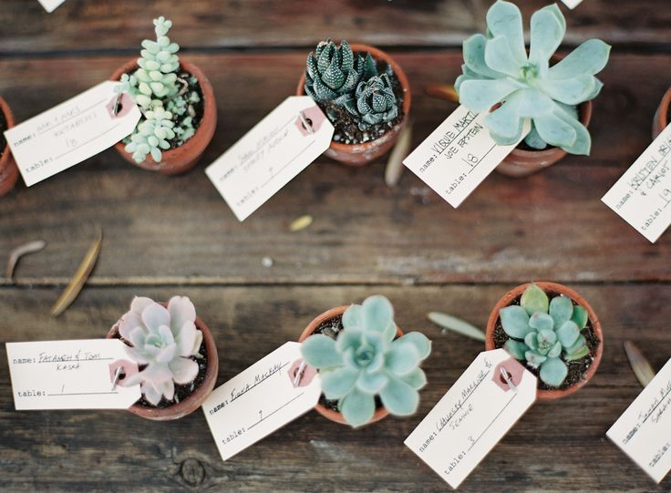 #escort-cards, #succulent  Photography: Kurt Boomer - kurtboomerphoto.com  Read More: http://www.stylemepretty.com/2014/03/21/hilltop-al-fresco-wedding-in-malibu-california/