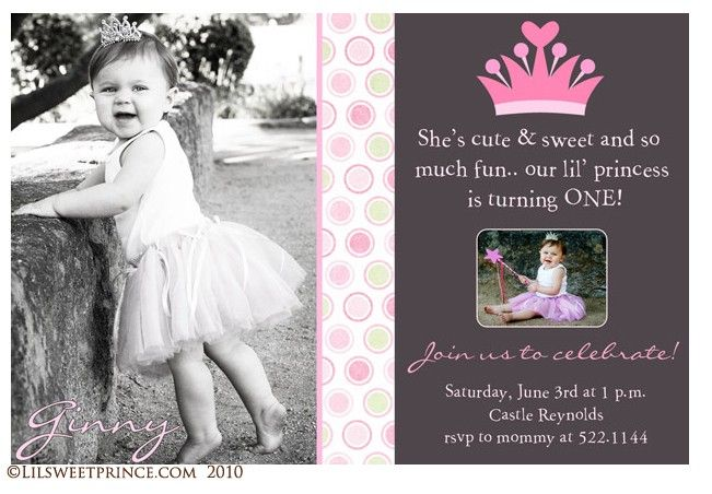 baby girl first birthday photo invitations | 1st Birthday Princess Invitations: Baby Girl's First Birthday Party