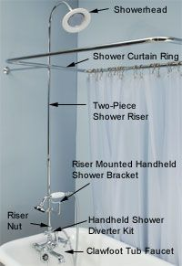 Parts Needed To Convert Clawfoot Tub To Overhead U0026 Handheld Shower  Combination.