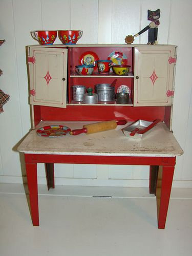 Vintage Wolverine Toy Kitchen baking Shelf - A wonderful Hoosier style cabinet for girls...