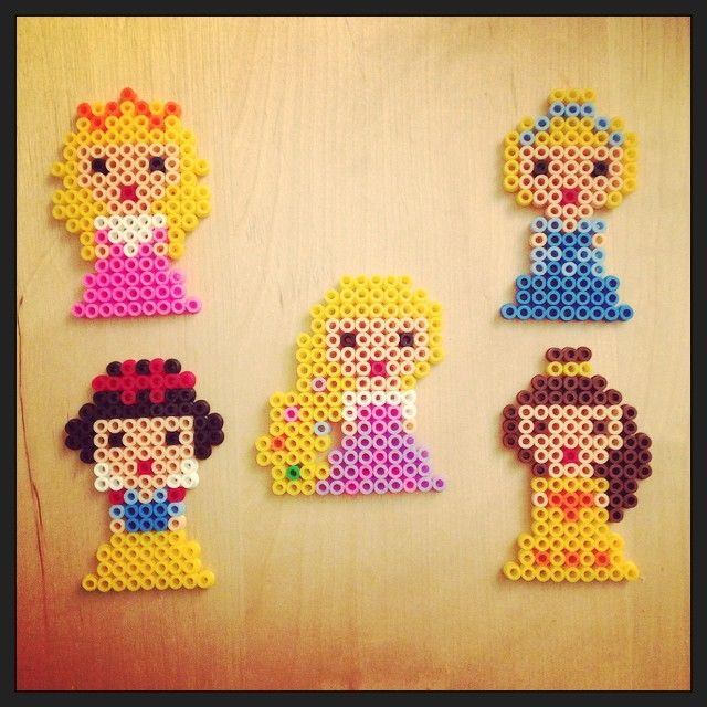 Disney Princess (Aurora, Cinderella, Snow White, Rapunzel and Belle) hama perler beads by helenmelon89