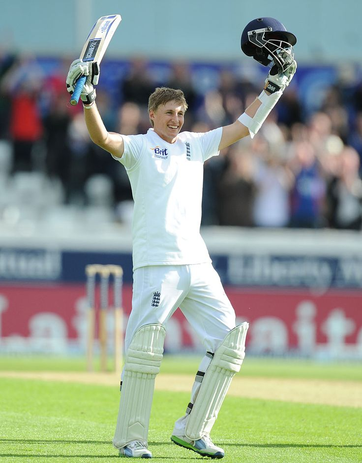 Joe Root (Eng) 104, celebrates his maiden Test hundred, vs New Zealand, 2nd Investec Test, Headingley, 2nd day, May 25, 2013