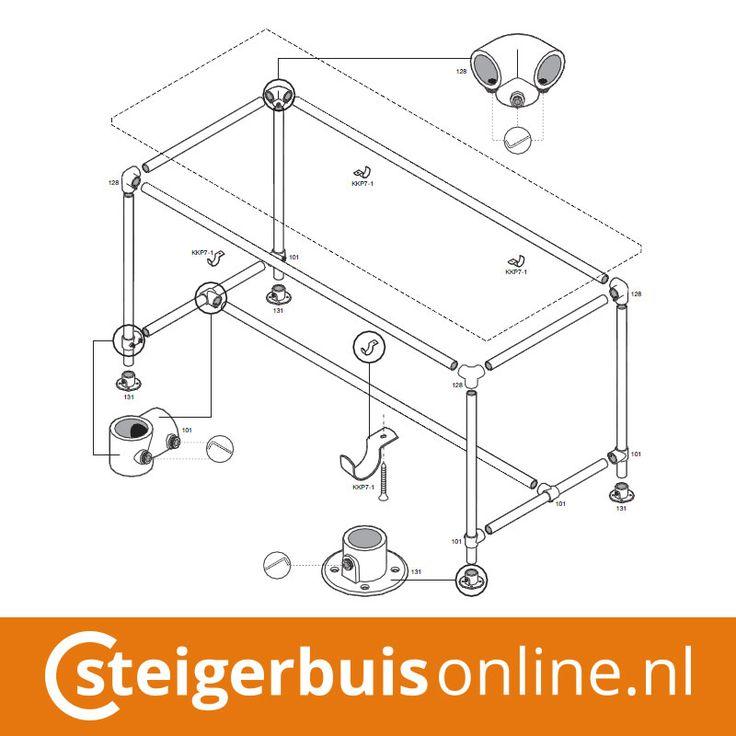 Werktekening (DIY) - Tafel van steigerbuis