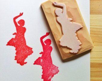 timbro del ballerino di flamenco, intagliato a mano di sagoma ballerina gomma timbro, timbro di insegnante di danza, artigianato di stile spagnolo, fabbricazione di carta di compleanno