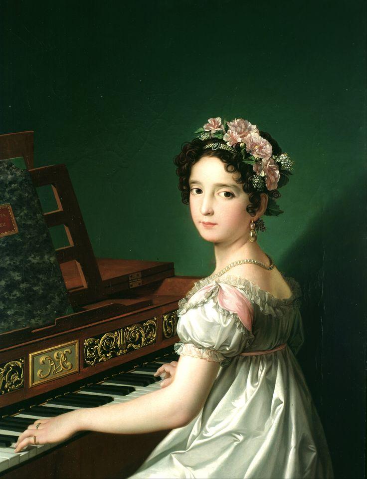 González Velázquez, Zacarías - Manuela González Velázquez, playing the piano - 1820