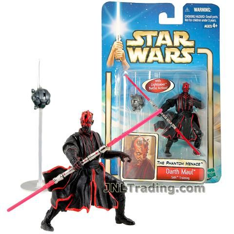 Star Wars Year 2002 The Phantom Menace 4 Inch Tall Figure #42 - Sith Training DARTH MAUL with Sith Lightsaber and Probe Droid with Stand