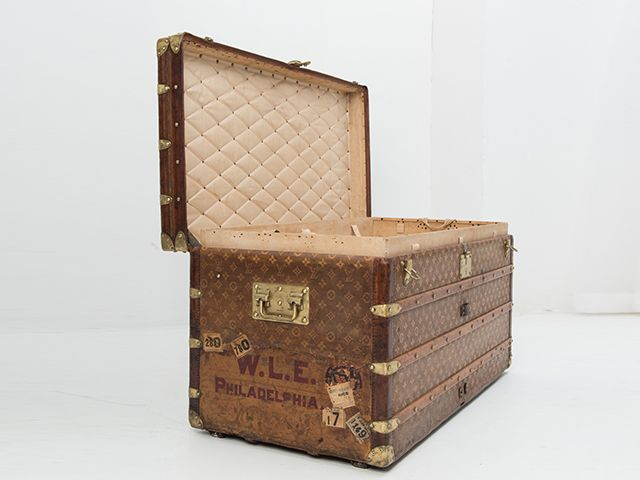 Vintage Louis Vuitton Trunk by Louis Vuitton  Turn-of-the-century, leather steamer trunks are Casa Capriz's signature pieces. This rare Louis Vuitton malles courrier, thus called as the trunks were given to couriers during journeys comes from one of Italy's most reliable collectors. It carries the label Rue Scribe, which means that it was made before 1914 >>>> SOLD