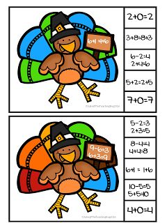 Thanksgiving Turkey Properties of Addition Task Cards  So many thanks to give to those around me this year. I wanted to share a little freebie with you all to review those properties of addition . These task cards are a simple tool to laminate and use in the classroom during small group math time. Students look at the problem on the turkey's sign and then either use a clothespin or any type of marker to find the problems that match the same inverse commutative or identity math problem. Head…
