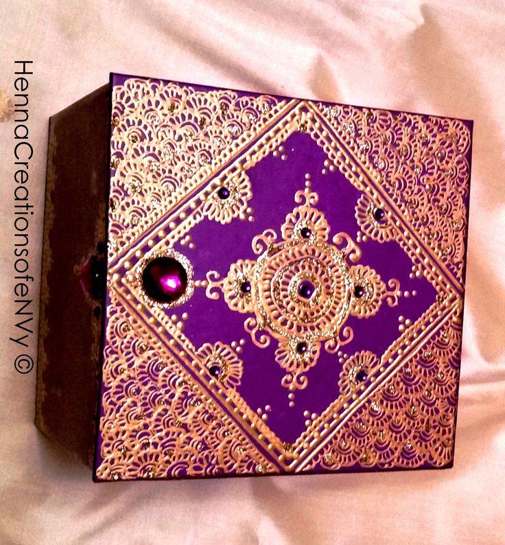 Henna Art Jewelry Box in purple with matching gem stones.
