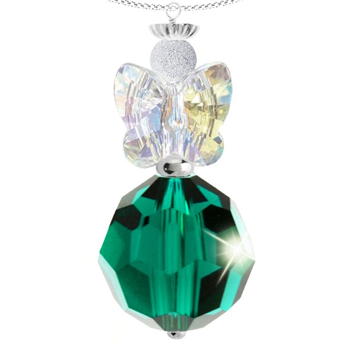 MAY ANGEL BIRTHSTONE PENDANT - Enchanting sterling silver Swarovski crystal angel pendant.  This heavenly pendant features a radiant faceted 10mm emerald green Swarovski crystal and a sparkling pair of clear crystal angel wings. A sterling silver halo crown adds a delightful finishing touch to this unique design.  Each pendant is made to order and the angel measures approximately 3cm in length.  May Angel is set on a sterling silver chain with a 5cm extension.