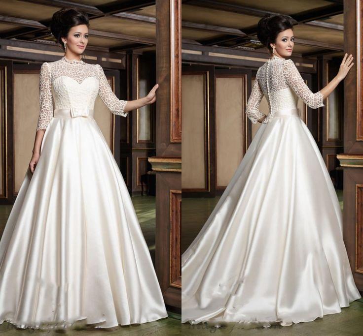 Старинные линии кот свадебные платья с 3 4 рукав свадебные платья Vestido Novia Vestido де феста атласный бант свадебное платье