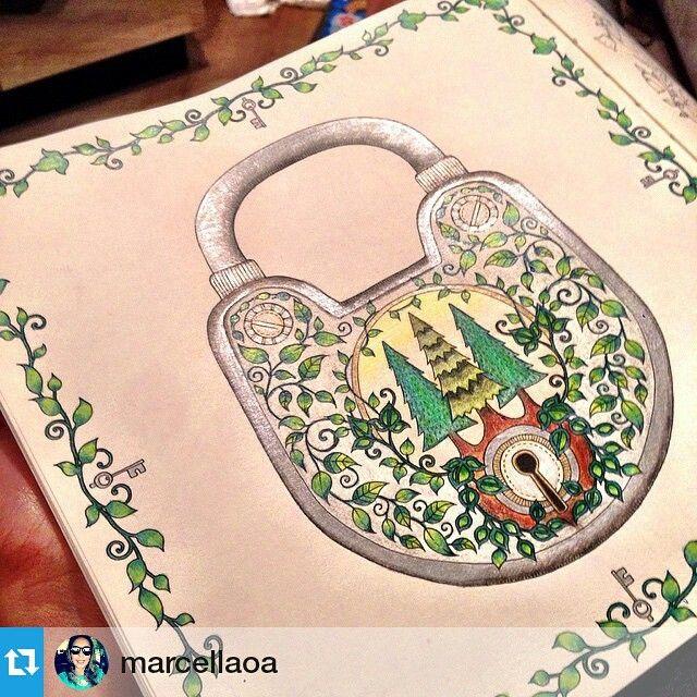 Floresta Encantada Cadeado Johanna Basford BasfordPencil ArtColored PencilsEnchanted Forest Coloring BookAdult