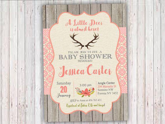 Deer Baby Shower Invitation Woodland Baby by RainbowSweetStudio