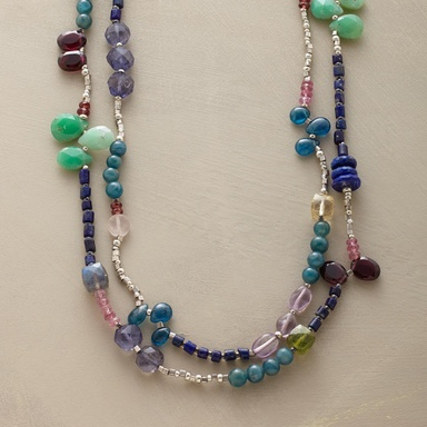 JEWEL KINGDOM NECKLACE--Celebrate the splendor with a double strand of garnet, tourmaline, apatite, lapis, amethyst, chrysoprase, labradorite, iolite, carnelian, vessonite and rose quartz. Sterling silver hook and eye clasp. Handcrafted. Exclusive. 19L.