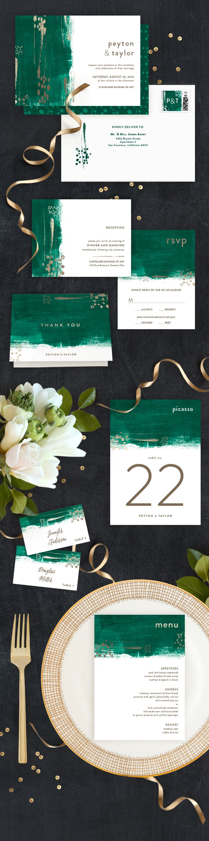 Painted Canvas Customizable Foil pressed Wedding Invitations