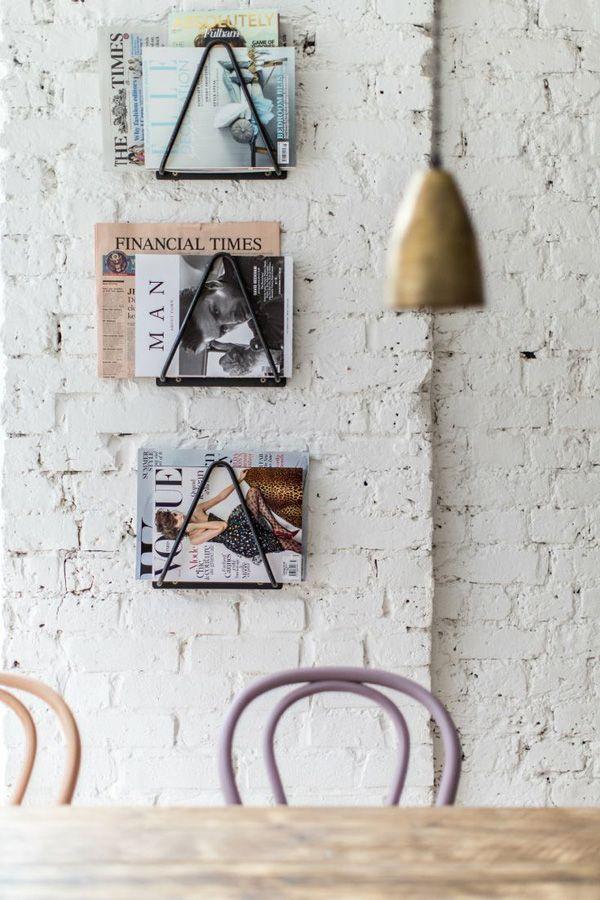 Magazine racks for coffee shop. feathercoffee.com